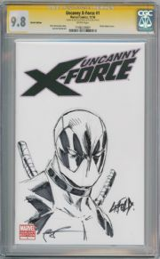 Uncanny X-Force #1 CGC 9.8 Signature Series Signed Rob Liefeld Deadpool Sketch Marvel comic book